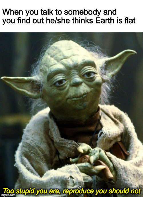 The wise Yoda always knows what's the proper answer. | When you talk to somebody and you find out he/she thinks Earth is flat Too stupid you are, reproduce you should not | image tagged in memes,star wars yoda,flat earth,flat earthers,stupidity | made w/ Imgflip meme maker