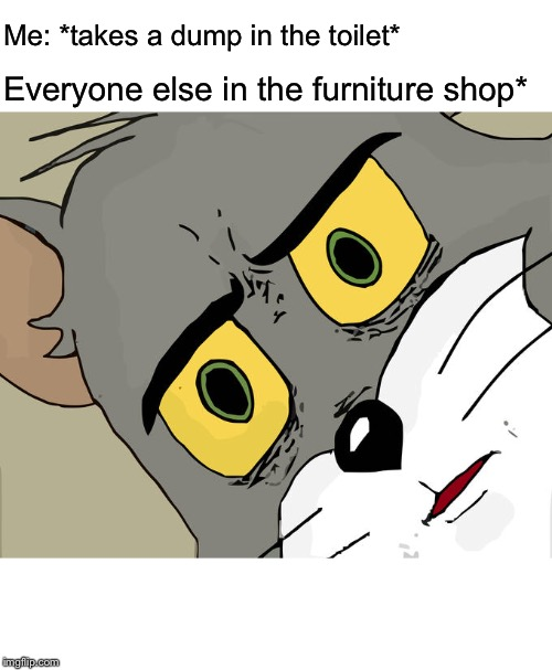 Unsettled Tom Meme | Me: *takes a dump in the toilet* Everyone else in the furniture shop* | image tagged in memes,unsettled tom,ikea,furniture,shit,toilet | made w/ Imgflip meme maker