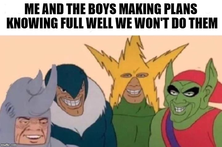 Me And The Boys | ME AND THE BOYS MAKING PLANS KNOWING FULL WELL WE WON'T DO THEM | image tagged in me and the boys | made w/ Imgflip meme maker