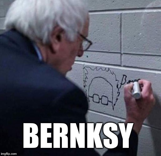 Bernksy | BERNKSY | image tagged in bernksy,bernie sanders,feel the bern,graffiti,banksy | made w/ Imgflip meme maker