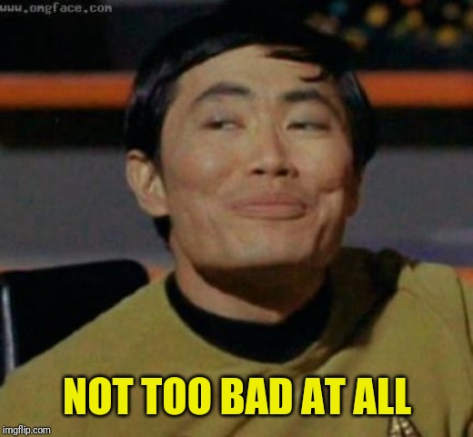 sulu | NOT TOO BAD AT ALL | image tagged in sulu | made w/ Imgflip meme maker