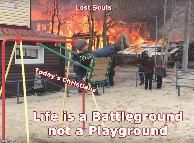 Battleground of Playground? | image tagged in lost souls,fire,swing set,swinging,life is a battleground not a playground | made w/ Imgflip meme maker