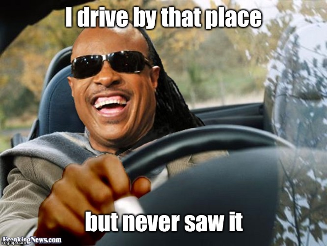 Stevie Wonder Driving | I drive by that place but never saw it | image tagged in stevie wonder driving | made w/ Imgflip meme maker