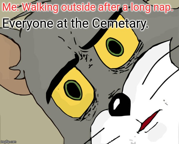 Unsettled Tom Meme | Me: Walking outside after a long nap. Everyone at the Cemetary. | image tagged in memes,unsettled tom | made w/ Imgflip meme maker