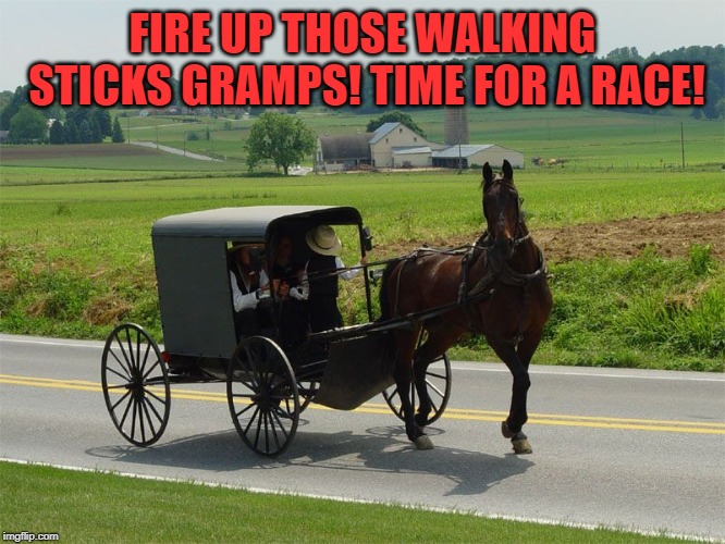 Amish Peeps | FIRE UP THOSE WALKING STICKS GRAMPS! TIME FOR A RACE! | image tagged in amish peeps | made w/ Imgflip meme maker
