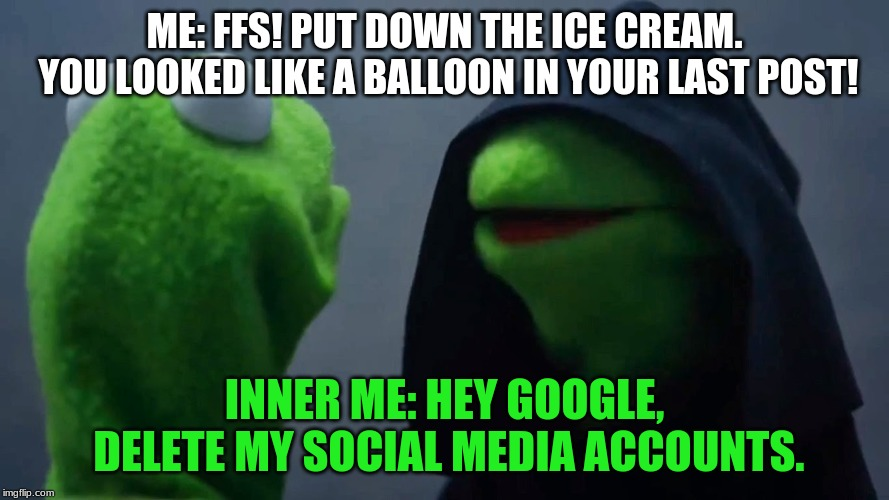 Kermit Inner Me | ME: FFS! PUT DOWN THE ICE CREAM. YOU LOOKED LIKE A BALLOON IN YOUR LAST POST! INNER ME: HEY GOOGLE, DELETE MY SOCIAL MEDIA ACCOUNTS. | image tagged in kermit inner me | made w/ Imgflip meme maker
