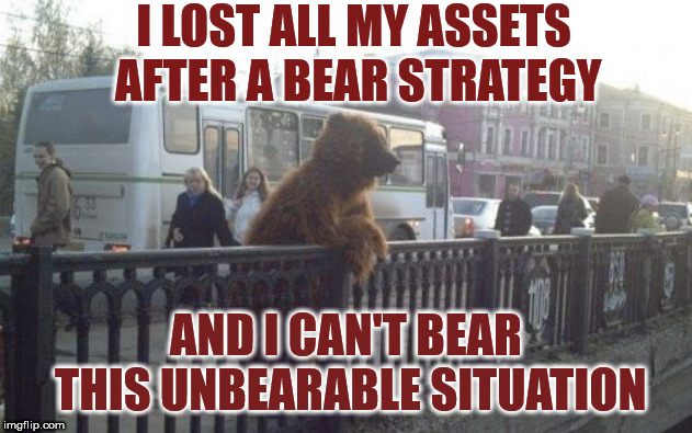 City Bear Meme | I LOST ALL MY ASSETS AFTER A BEAR STRATEGY AND I CAN'T BEAR THIS UNBEARABLE SITUATION | image tagged in memes,city bear | made w/ Imgflip meme maker