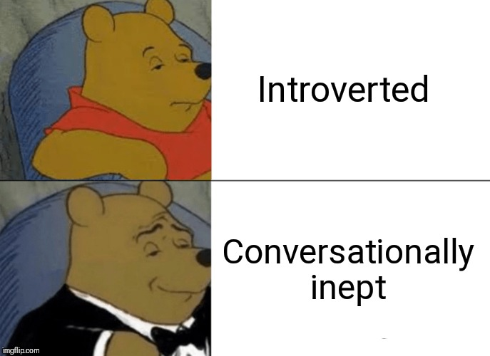 Tuxedo Winnie The Pooh Meme | Introverted Conversationally inept | image tagged in memes,tuxedo winnie the pooh | made w/ Imgflip meme maker