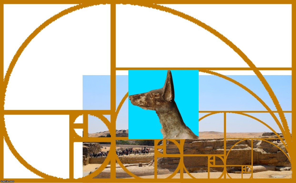 The Great Sphinx with an Anubis Head cut out from a statue from a museum, with the Golden Ratio.  Lines up perfectly. | image tagged in the great sphinx,egypt,anubis,golden jackal,the golden ratio,geometry | made w/ Imgflip meme maker
