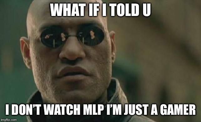 Matrix Morpheus | WHAT IF I TOLD U I DON'T WATCH MLP I'M JUST A GAMER | image tagged in memes,matrix morpheus | made w/ Imgflip meme maker