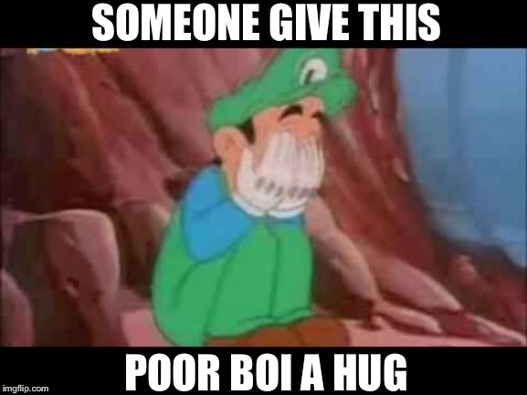 Poor green mario | SOMEONE GIVE THIS POOR BOI A HUG | image tagged in green mario,crying luigi,nintendo | made w/ Imgflip meme maker