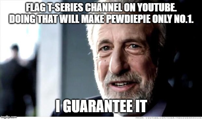 I Guarantee It | FLAG T-SERIES CHANNEL ON YOUTUBE. DOING THAT WILL MAKE PEWDIEPIE ONLY NO.1. I GUARANTEE IT | image tagged in memes,i guarantee it,pewdiepie,t-series,youtube | made w/ Imgflip meme maker
