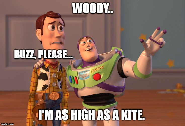 X, X Everywhere |  WOODY.. BUZZ, PLEASE... I'M AS HIGH AS A KITE. | image tagged in memes,x x everywhere | made w/ Imgflip meme maker