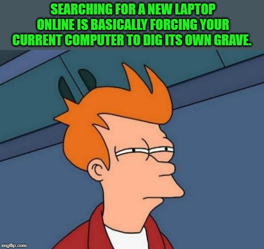 hummmmmm--- | SEARCHING FOR A NEW LAPTOP ONLINE IS BASICALLY FORCING YOUR CURRENT COMPUTER TO DIG ITS OWN GRAVE. | image tagged in memes,futurama fry | made w/ Imgflip meme maker