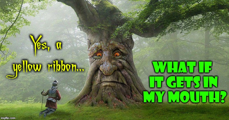 Wisdom from the Tree of Knowledge | Yes, a yellow ribbon... WHAT IF IT GETS IN  MY MOUTH? | image tagged in vince vance,tie a yellow ribbon,old oak tree,don quixote,the tree of knowledge,talking tree | made w/ Imgflip meme maker