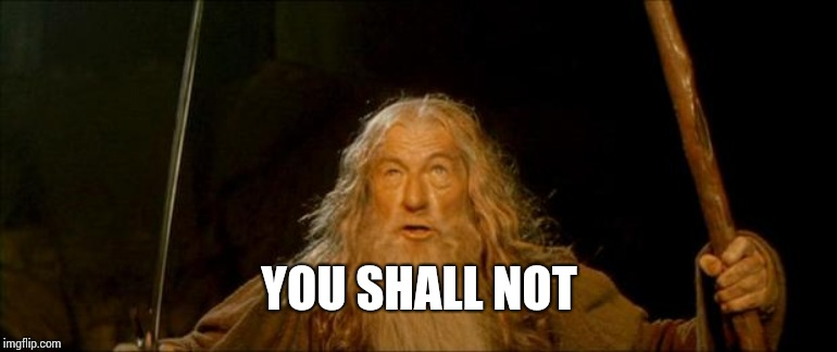 gandalf you shall not pass | YOU SHALL NOT | image tagged in gandalf you shall not pass | made w/ Imgflip meme maker