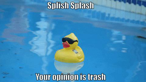 High Quality Splish Splash your opinion is trash Blank Meme Template