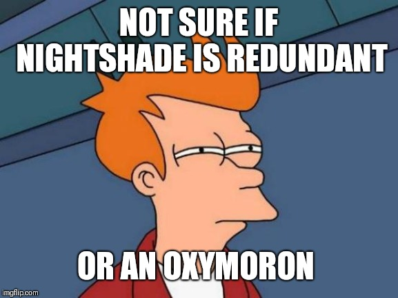 Futurama Fry Meme | NOT SURE IF NIGHTSHADE IS REDUNDANT OR AN OXYMORON | image tagged in memes,futurama fry | made w/ Imgflip meme maker