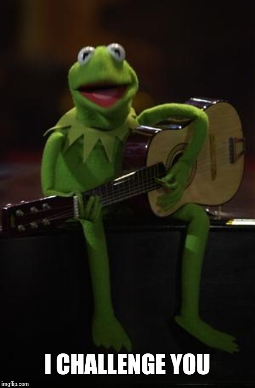 Kermit Guitar | I CHALLENGE YOU | image tagged in kermit guitar | made w/ Imgflip meme maker