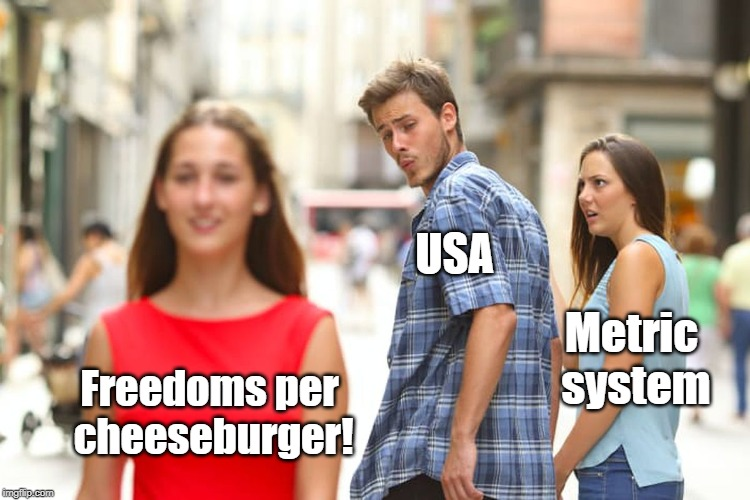 Murica! | Freedoms per cheeseburger! USA Metric system | image tagged in freedom in murica,'murica,metric,cheeseburger | made w/ Imgflip meme maker