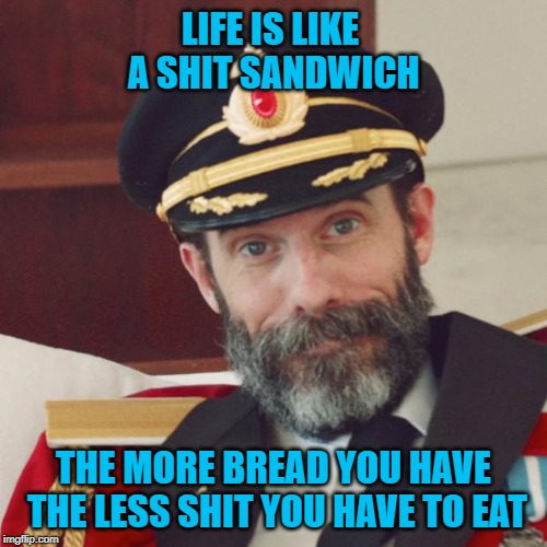 Very true story right there...always good to have lots of bread! | LIFE IS LIKE A SHIT SANDWICH THE MORE BREAD YOU HAVE THE LESS SHIT YOU HAVE TO EAT | image tagged in captain obvious,memes,shit sandwich,funny,life,need bread | made w/ Imgflip meme maker