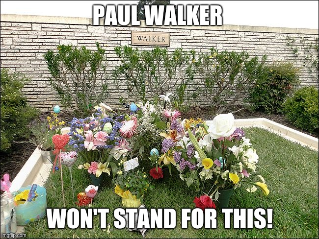 Paul Walker won't stand for this! |  PAUL WALKER; WON'T STAND FOR THIS! | image tagged in the fast and the furious,not fast enough,dead celebrities | made w/ Imgflip meme maker