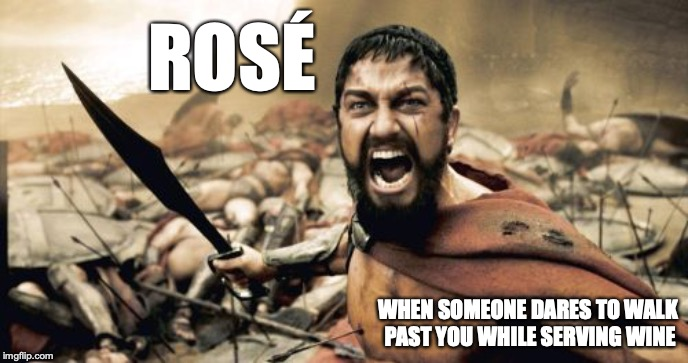 Sparta Leonidas | ROSÉ WHEN SOMEONE DARES TO WALK PAST YOU WHILE SERVING WINE | image tagged in memes,sparta leonidas,funny,wine | made w/ Imgflip meme maker