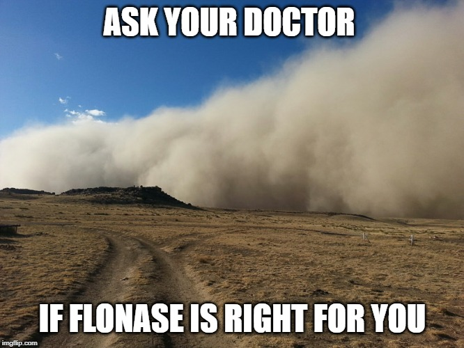Dust storm | ASK YOUR DOCTOR IF FLONASE IS RIGHT FOR YOU | image tagged in dust storm,tv,commercial,joke | made w/ Imgflip meme maker