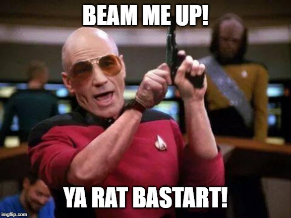 gangsta picard | BEAM ME UP! YA RAT BASTART! | image tagged in gangsta picard | made w/ Imgflip meme maker