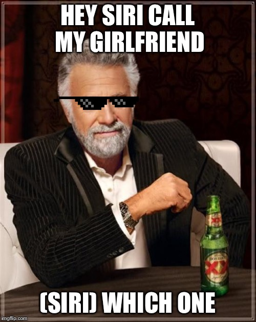 The Most Interesting Man In The World Meme | HEY SIRI CALL MY GIRLFRIEND (SIRI) WHICH ONE | image tagged in memes,the most interesting man in the world | made w/ Imgflip meme maker