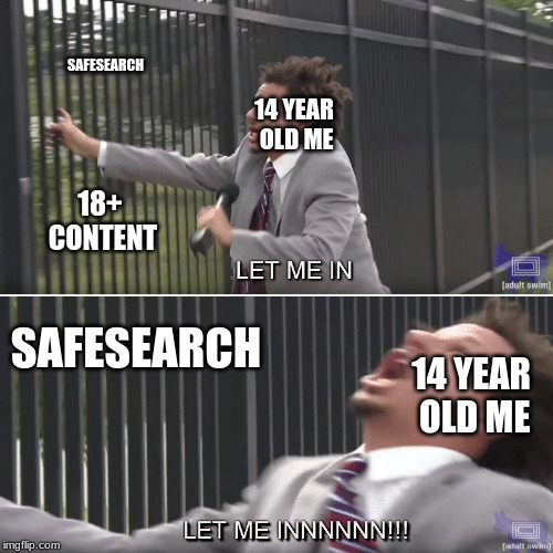 curse you safe search!!!! | 18+ CONTENT SAFESEARCH 14 YEAR OLD ME 14 YEAR OLD ME SAFESEARCH | image tagged in eric andre let me in meme,let me in memes,eric andre memes | made w/ Imgflip meme maker