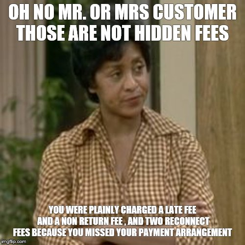 Customer service Florence | OH NO MR. OR MRS CUSTOMER THOSE ARE NOT HIDDEN FEES YOU WERE PLAINLY CHARGED A LATE FEE AND A NON RETURN FEE , AND TWO RECONNECT FEES BECAUS | image tagged in florence from jeffersons,customer service,customers,customer | made w/ Imgflip meme maker
