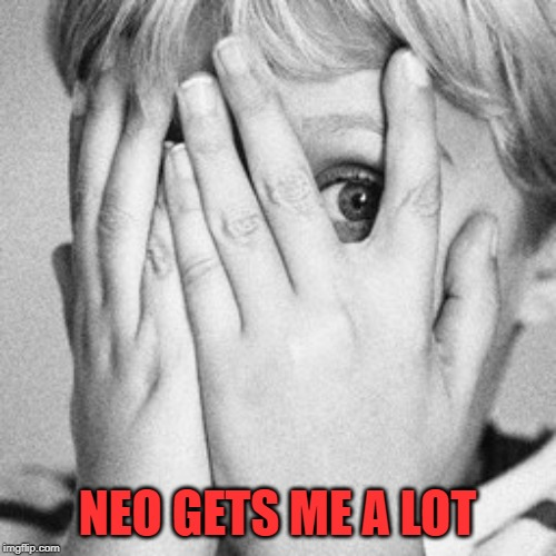 Peeking through fingers | NEO GETS ME A LOT | image tagged in peeking through fingers | made w/ Imgflip meme maker