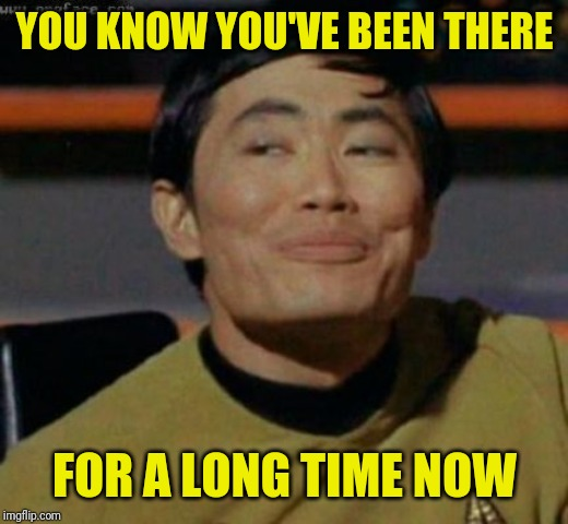 sulu | YOU KNOW YOU'VE BEEN THERE FOR A LONG TIME NOW | image tagged in sulu | made w/ Imgflip meme maker