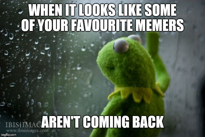 Where art thou? | WHEN IT LOOKS LIKE SOME OF YOUR FAVOURITE MEMERS AREN'T COMING BACK | image tagged in kermit window | made w/ Imgflip meme maker