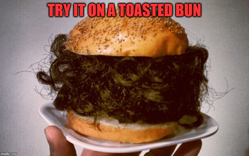 Hairburger | TRY IT ON A TOASTED BUN | image tagged in hairburger | made w/ Imgflip meme maker