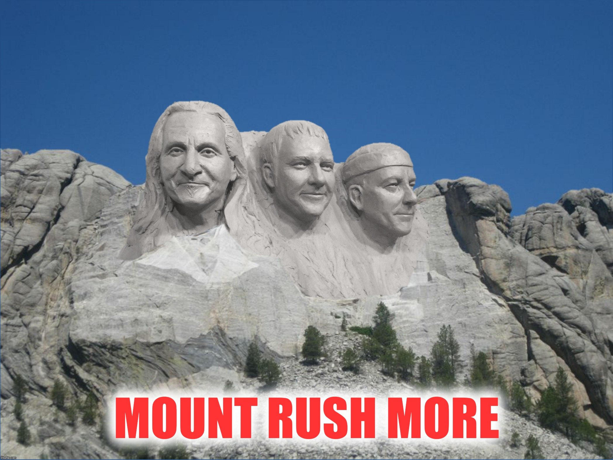 Bad Photoshop Sunday presents:  All The World's A Stage | MOUNT RUSH MORE | image tagged in bad photoshop sunday,rush,mount rushmore,geddy lee,alex lifeson,neil peart | made w/ Imgflip meme maker