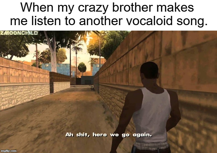 Here we go again | When my crazy brother makes me listen to another vocaloid song. | image tagged in here we go again | made w/ Imgflip meme maker