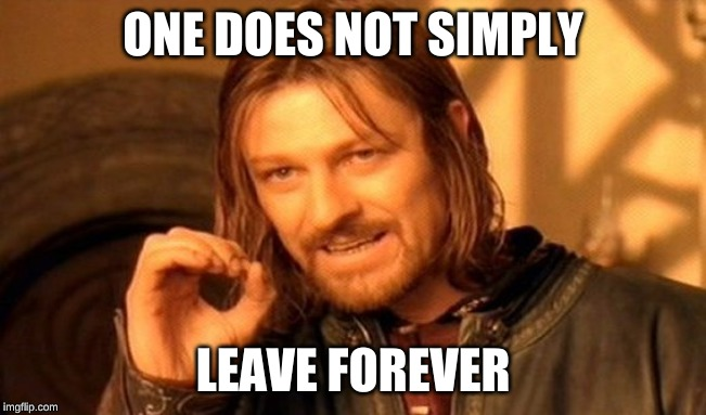 One Does Not Simply Meme | ONE DOES NOT SIMPLY LEAVE FOREVER | image tagged in memes,one does not simply | made w/ Imgflip meme maker