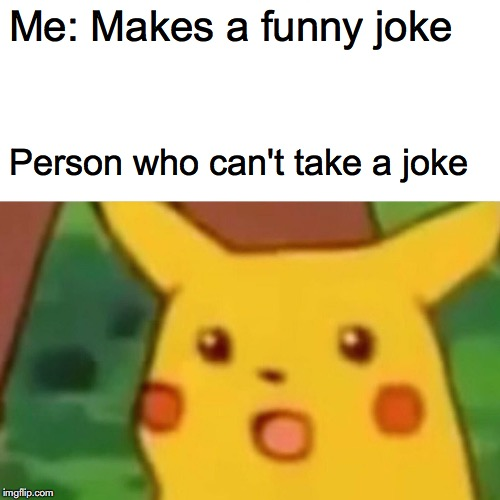 Surprised Pikachu Meme | Me: Makes a funny joke Person who can't take a joke | image tagged in memes,surprised pikachu | made w/ Imgflip meme maker