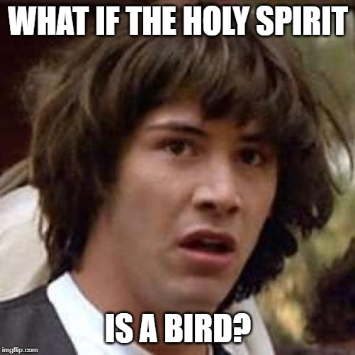 Religiously Speaking | WHAT IF THE HOLY SPIRIT IS A BIRD? | image tagged in memes,conspiracy keanu,religion of peace | made w/ Imgflip meme maker