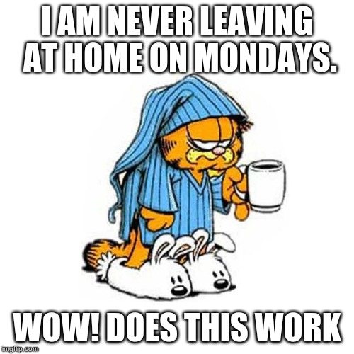 garfield-coffee |  I AM NEVER LEAVING AT HOME ON MONDAYS. WOW! DOES THIS WORK | image tagged in garfield-coffee | made w/ Imgflip meme maker