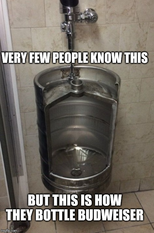 VERY FEW PEOPLE KNOW THIS BUT THIS IS HOW THEY BOTTLE BUDWEISER | image tagged in beer | made w/ Imgflip meme maker