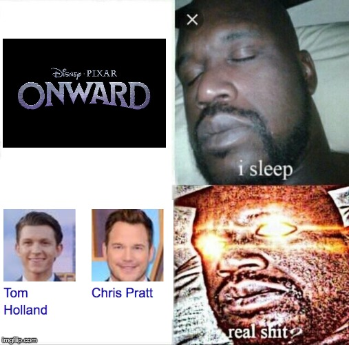 How to get MCU fans into Pixar | image tagged in memes,sleeping shaq,pixar,mcu,tom holland,chris pratt | made w/ Imgflip meme maker