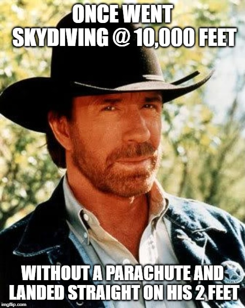 Just like a Cat | ONCE WENT SKYDIVING @ 10,000 FEET WITHOUT A PARACHUTE AND LANDED STRAIGHT ON HIS 2 FEET | image tagged in memes,chuck norris | made w/ Imgflip meme maker