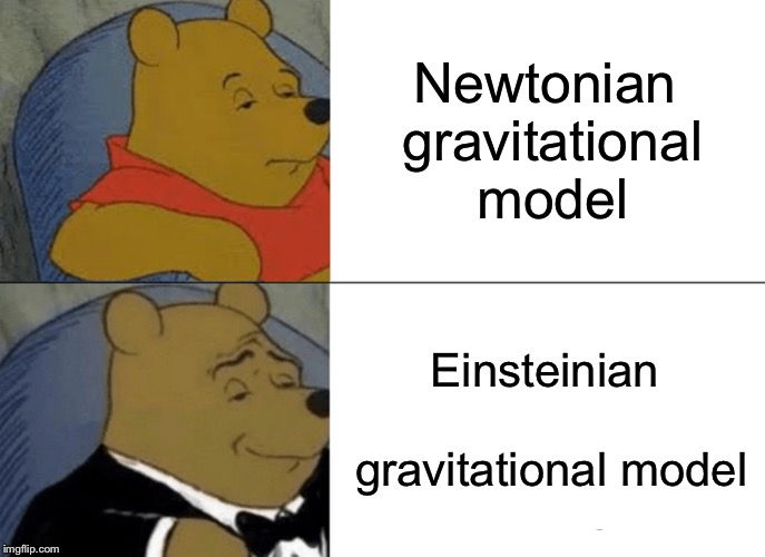 Tuxedo Winnie The Pooh Meme | Newtonian gravitational model Einsteinian gravitational model | image tagged in memes,tuxedo winnie the pooh | made w/ Imgflip meme maker