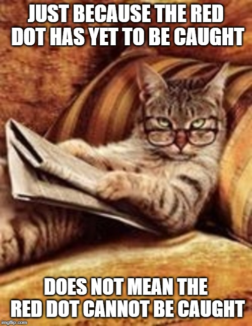 Newspaper cat | JUST BECAUSE THE RED DOT HAS YET TO BE CAUGHT DOES NOT MEAN THE RED DOT CANNOT BE CAUGHT | image tagged in newspaper cat | made w/ Imgflip meme maker