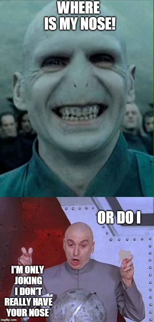 WHERE IS MY NOSE! I'M ONLY JOKING I DON'T REALLY HAVE YOUR NOSE OR DO I | image tagged in voldemort grin,memes,dr evil laser | made w/ Imgflip meme maker