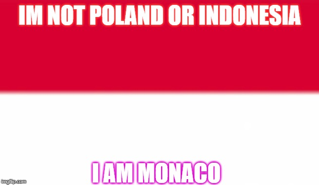 Hey Indonesia , or Poland. | IM NOT POLAND OR INDONESIA I AM MONACO | image tagged in monaco,poland,indonesia,flags,red,white | made w/ Imgflip meme maker