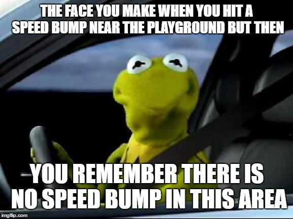 Kermit Car | THE FACE YOU MAKE WHEN YOU HIT A SPEED BUMP NEAR THE PLAYGROUND BUT THEN YOU REMEMBER THERE IS NO SPEED BUMP IN THIS AREA | image tagged in kermit car,random,playground | made w/ Imgflip meme maker